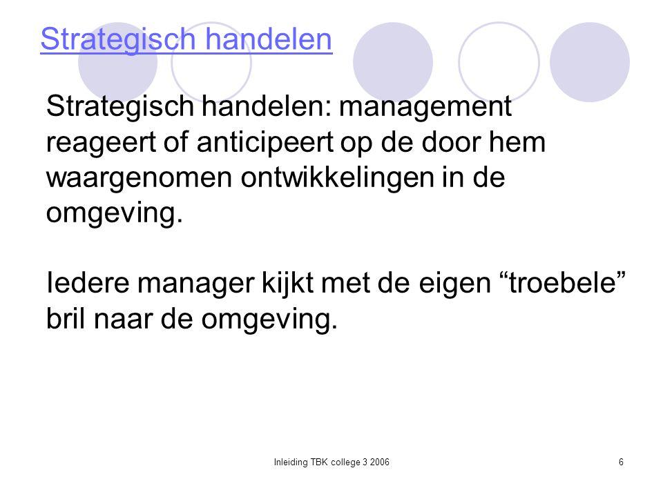 Inleiding TBK college 3 20066 Strategisch handelen Strategisch handelen: management reageert of anticipeert op de door hem waargenomen ontwikkelingen in de omgeving.