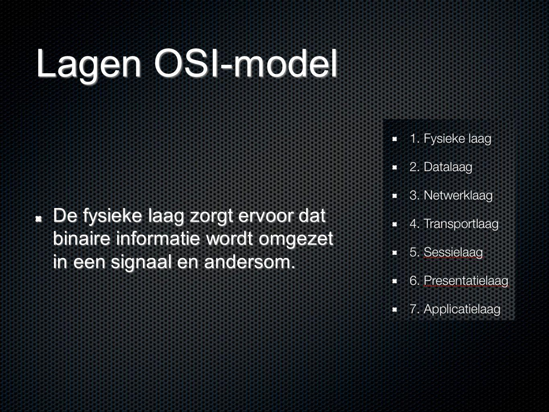 Lagen OSI-model De fysieke laag zorgt ervoor dat binaire informatie wordt omgezet in een signaal en andersom.