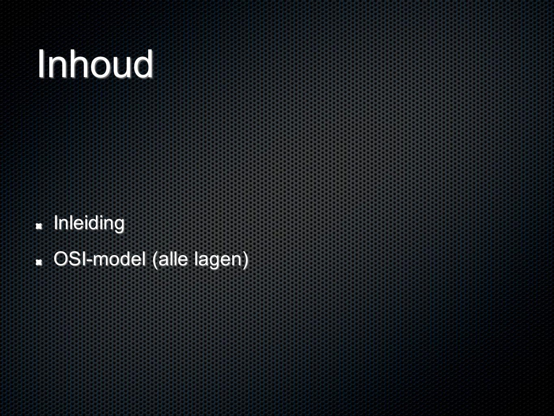 Inhoud Inleiding OSI-model (alle lagen)