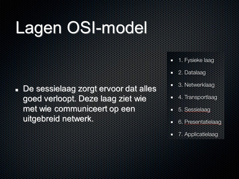 Lagen OSI-model De sessielaag zorgt ervoor dat alles goed verloopt. Deze laag ziet wie met wie communiceert op een uitgebreid netwerk.