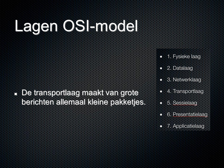 Lagen OSI-model De transportlaag maakt van grote berichten allemaal kleine pakketjes.