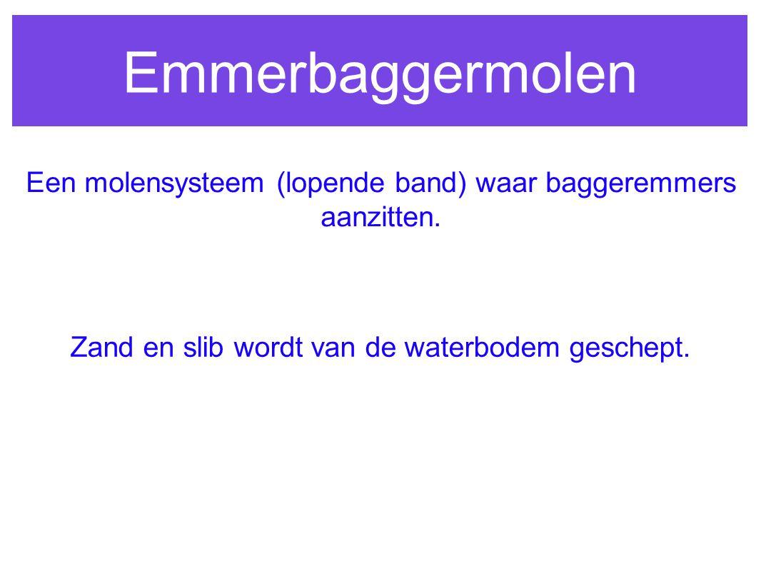 Emmerbaggermolen Een molensysteem (lopende band) waar baggeremmers aanzitten. Zand en slib wordt van de waterbodem geschept.