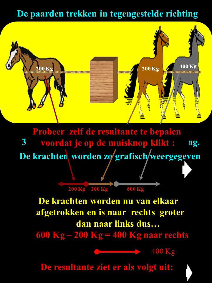 3 krachten werken in tegengestelde richting. De paarden trekken in tegengestelde richting De krachten worden zo grafisch weergegeven De krachten worde