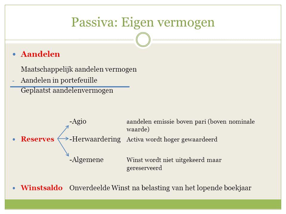 Passiva: Voorzieningen Voorzieningen zijn onderdeel van het vreemd vermogen.