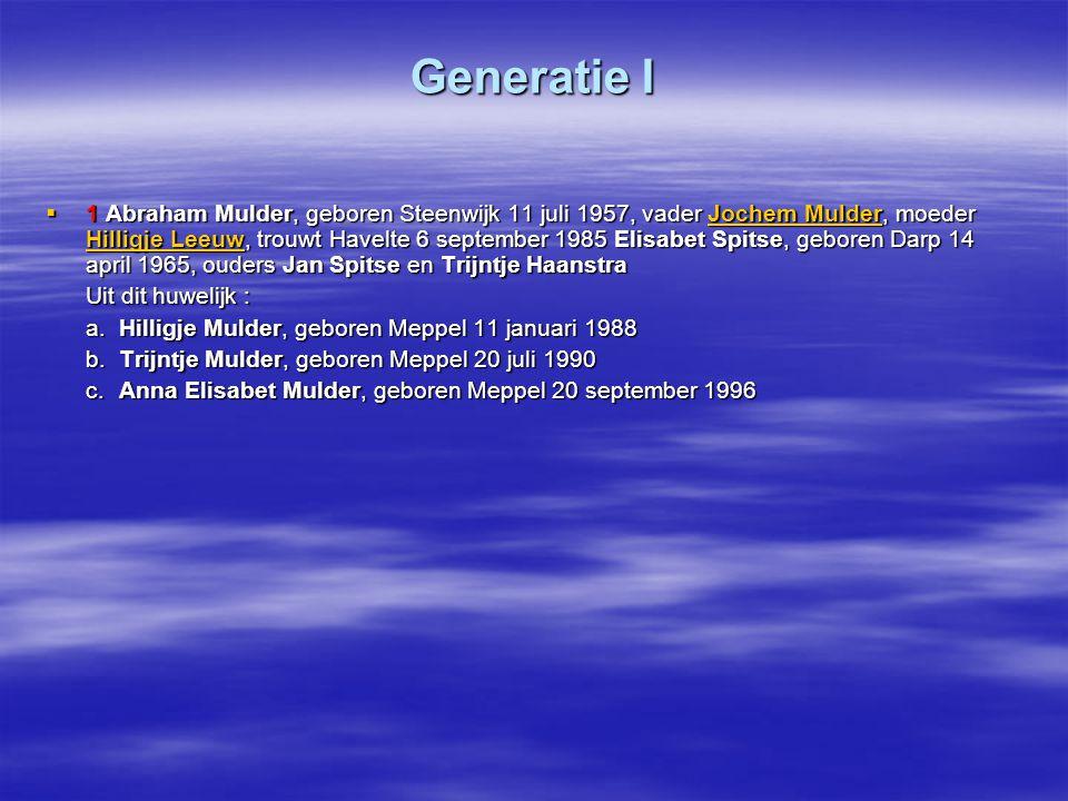 Generatie I  1 Abraham Mulder, geboren Steenwijk 11 juli 1957, vader Jochem Mulder, moeder Hilligje Leeuw, trouwt Havelte 6 september 1985 Elisabet S
