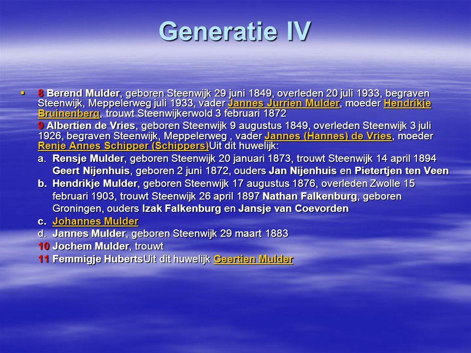 Generatie IV  8 Berend Mulder, geboren Steenwijk 29 juni 1849, overleden 20 juli 1933, begraven Steenwijk, Meppelerweg juli 1933, vader Jannes Jurrie