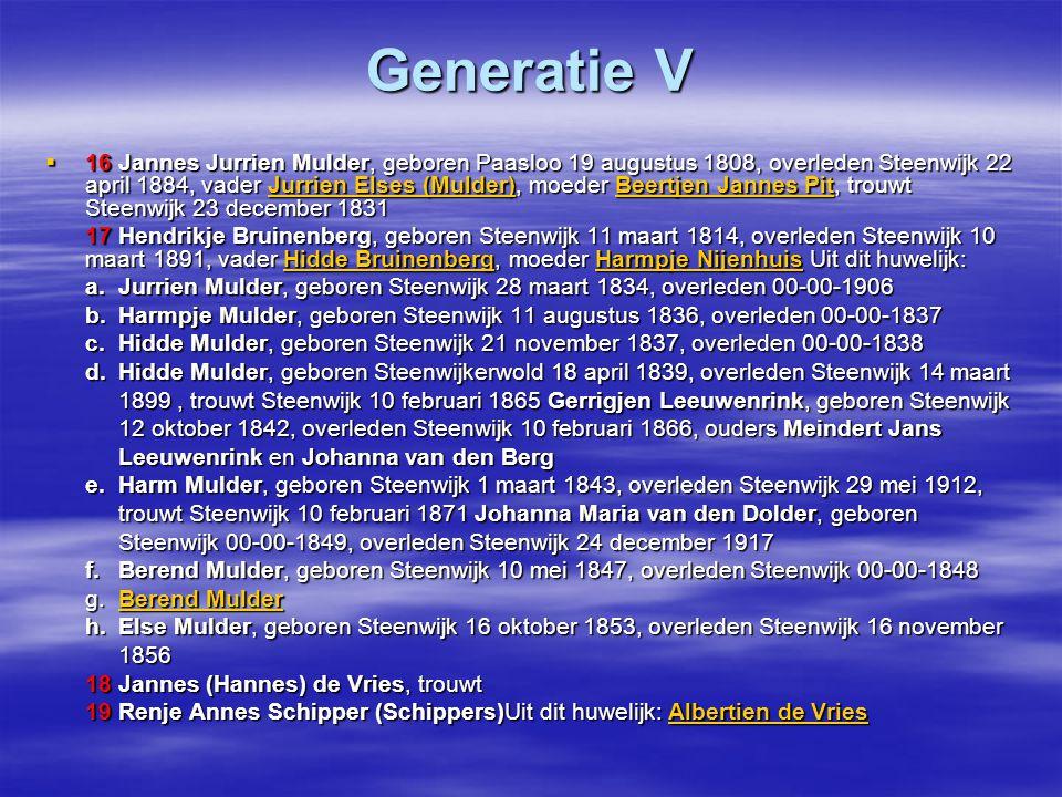 Generatie VI  32 Jurrien Elses (Mulder), geboren Steenwijkerwold, gedoopt Steenwijkerwold 13 december 1769, overleden Oldemarkt 00-00-1860, vader Else Jurriens, moeder Grietjen Egberts, trouwt Oldemarkt 22 februari 1800 Else Jurriens Grietjen EgbertsElse Jurriens Grietjen Egberts 33 Beertjen Jannes Pit, geboren Steenwijkerwold, gedoopt Steenwijkerwold 26 april 1776, overleden Steenwijk 16 oktober 1849, vader Jannis Jacobs, moeder Janna Alberts Uit dit huwelijk : Jannis JacobsJanna AlbertsJannis JacobsJanna Alberts a.Else Jurriens Mulder, geboren Oldemarkt 17 januari 1800, gedoopt Oldemarkt 10 november 1800, overleden Steenwijk 3 februari 1852, trouwt Steenwijkerwold 21 juni 1827 Jannetje Weener, overleden Steenwijk 3 februari 1852, trouwt Steenwijkerwold 21 juni 1827 Jannetje Weener, geboren Zutphen (Gelderland) 30 december 1803, overleden Frederiksoord, Vledder 14 januari geboren Zutphen (Gelderland) 30 december 1803, overleden Frederiksoord, Vledder 14 januari 1878, ouders Johannes Weener en Grietje van Voorst 1878, ouders Johannes Weener en Grietje van Voorst b.Janna Jurriens Mulder, geboren Oldemarkt 6 augustus 1803, gedoopt 6 augustus 1803, overleden Steenwijk 2 maart 1880, begraven, trouwt 15 april 1824 Roelof |Hendrik van Dalen, geboren Steenwijk 2 maart 1880, begraven, trouwt 15 april 1824 Roelof |Hendrik van Dalen, geboren Steenwijk 5 september 1798, overleden Steenwijk 11 februari 1859, ouders Hendrik van Dalen en Steenwijk 5 september 1798, overleden Steenwijk 11 februari 1859, ouders Hendrik van Dalen en Trijntje Roelof Willems Grietjen Trijntje Roelof Willems Grietjen c.