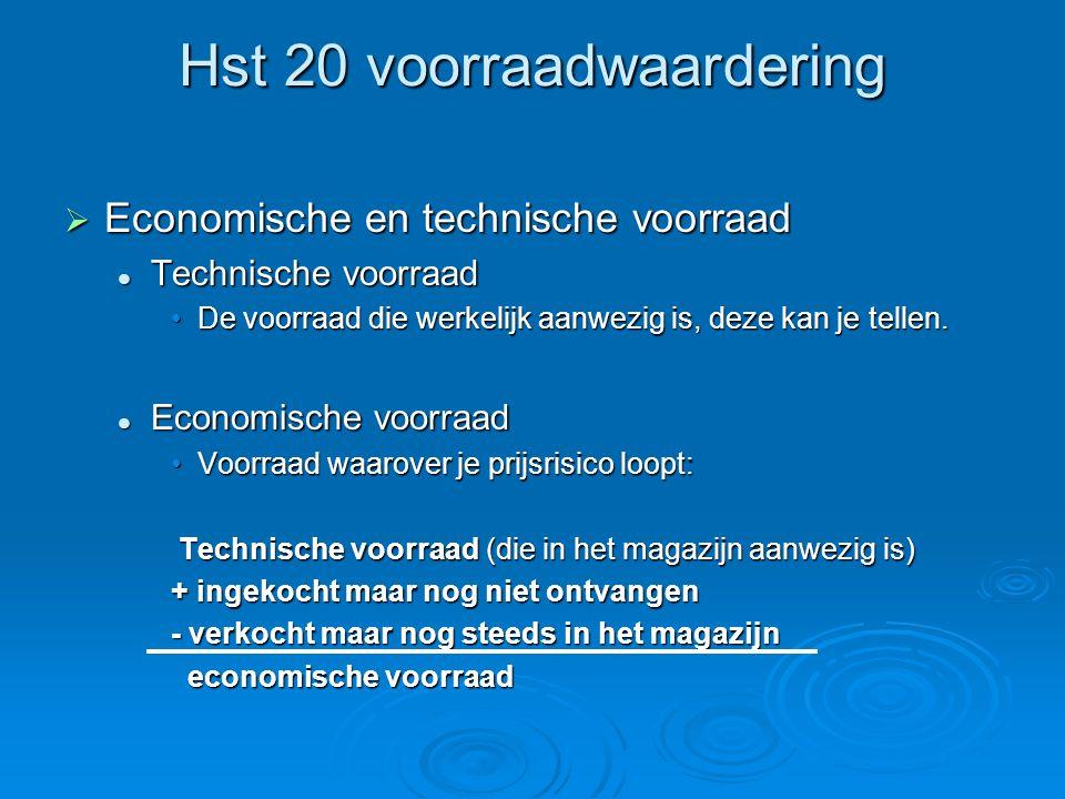 Hst 20 voorraadwaardering  Economische en technische voorraad Technische voorraad Technische voorraad De voorraad die werkelijk aanwezig is, deze kan je tellen.De voorraad die werkelijk aanwezig is, deze kan je tellen.