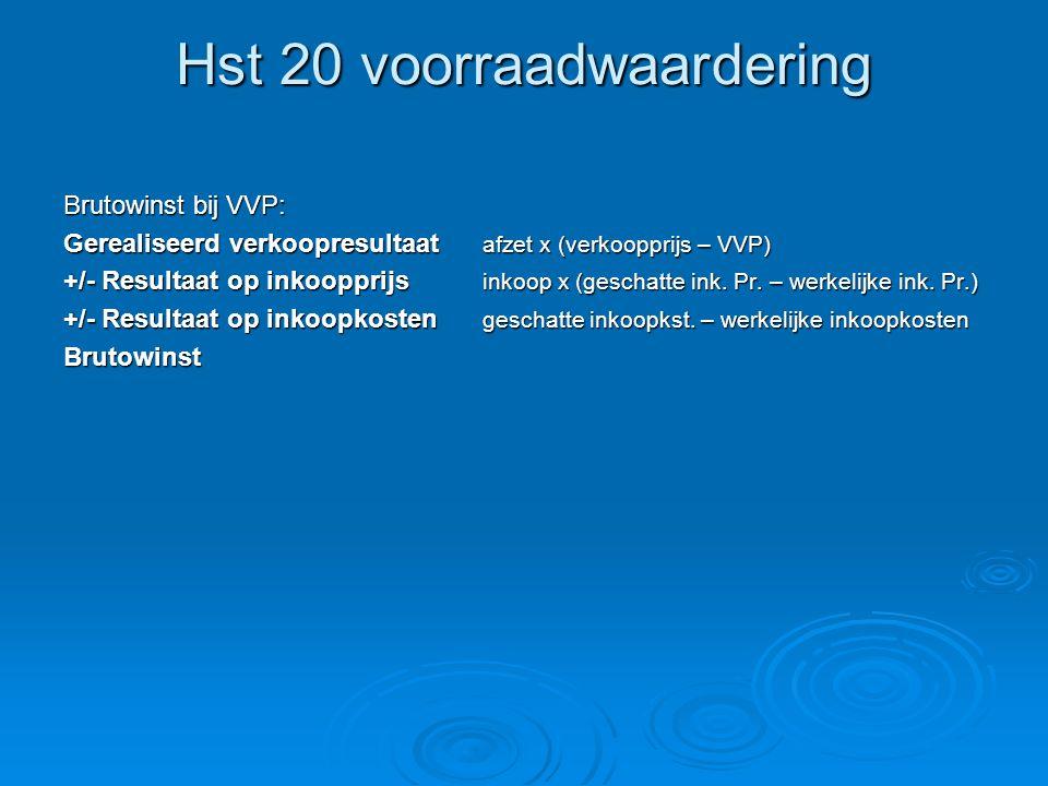 Hst 20 voorraadwaardering Brutowinst bij VVP: Gerealiseerd verkoopresultaat afzet x (verkoopprijs – VVP) +/- Resultaat op inkoopprijs inkoop x (geschatte ink.