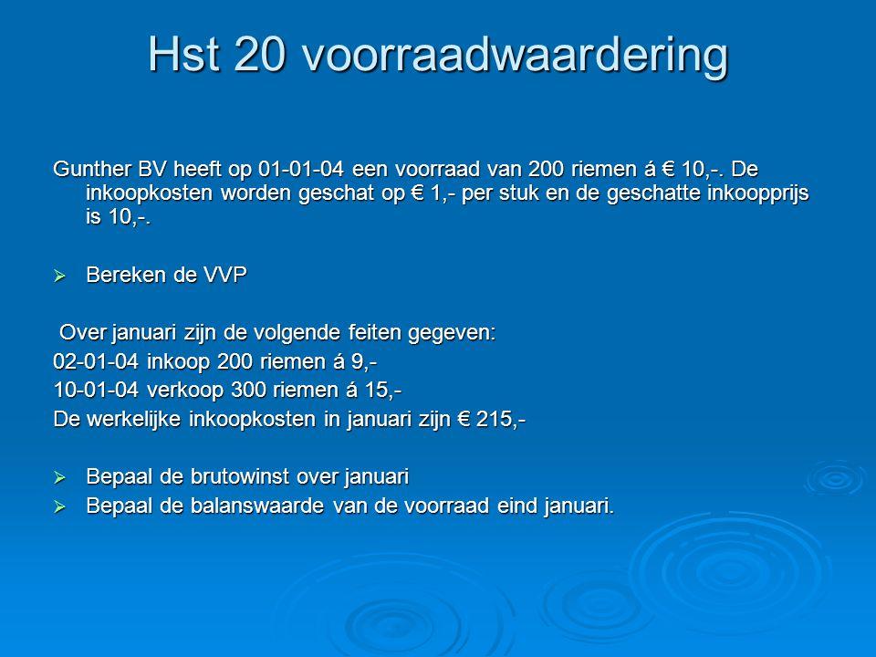 Hst 20 voorraadwaardering Gunther BV heeft op 01-01-04 een voorraad van 200 riemen á € 10,-. De inkoopkosten worden geschat op € 1,- per stuk en de ge