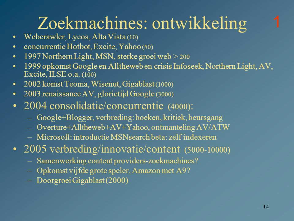 14 Zoekmachines: ontwikkeling Webcrawler, Lycos, Alta Vista (10) concurrentie Hotbot, Excite, Yahoo (50) 1997 Northern Light, MSN, sterke groei web >