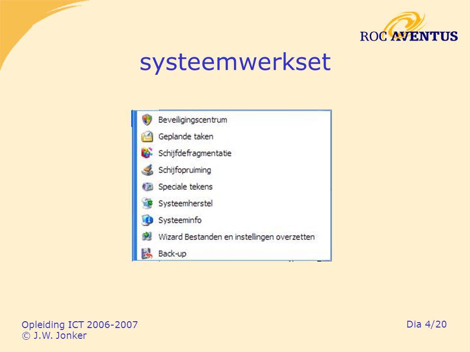 Opleiding ICT 2006-2007 © J.W. Jonker Dia 4/20 systeemwerkset