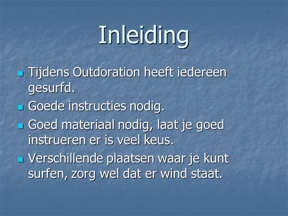 Inleiding Tijdens Outdoration heeft iedereen gesurfd.