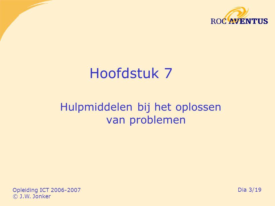 Opleiding ICT 2006-2007 © J.W. Jonker Dia 3/19 Hoofdstuk 7 Hulpmiddelen bij het oplossen van problemen