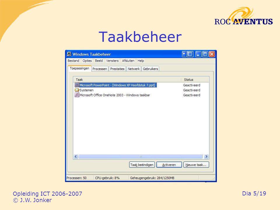 Opleiding ICT 2006-2007 © J.W. Jonker Dia 16/19 Register