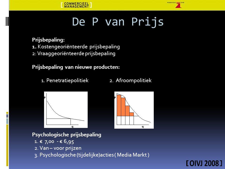 Prijsbepaling: 1. Kostengeoriënteerde prijsbepaling 2: Vraaggeoriënteerde prijsbepaling Prijsbepaling van nieuwe producten: 1. Penetratiepolitiek 2. A