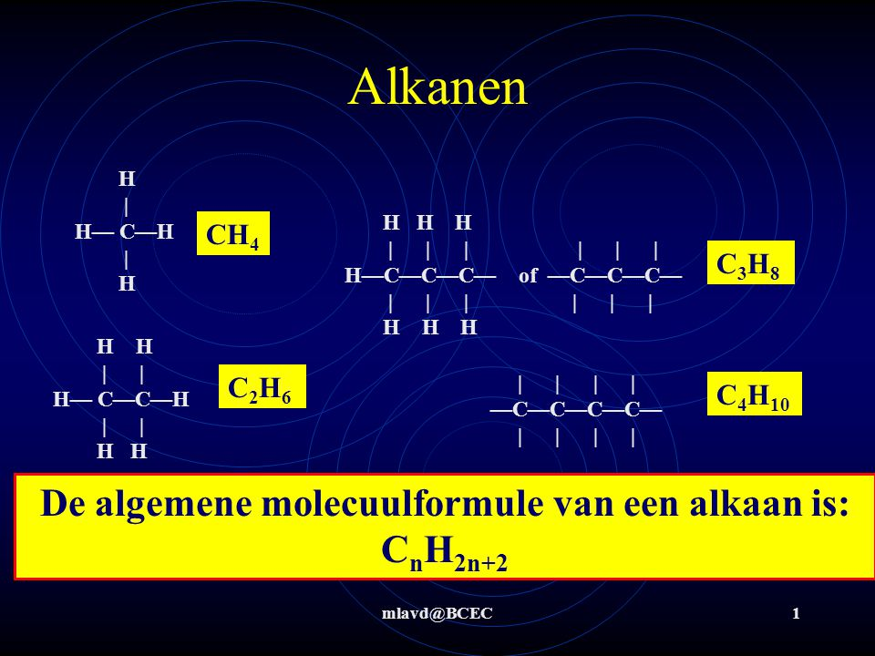 mlavd@BCEC1 Alkanen De algemene molecuulformule van een alkaan is: C n H 2n+2 CH 4         —C—C—C—C—         H H H             H—C—C—C— of —C—C—C—             H H H H   H— C—H   H H H     H— C—C—H     H H C 4 H 10 C3H8C3H8 C2H6C2H6