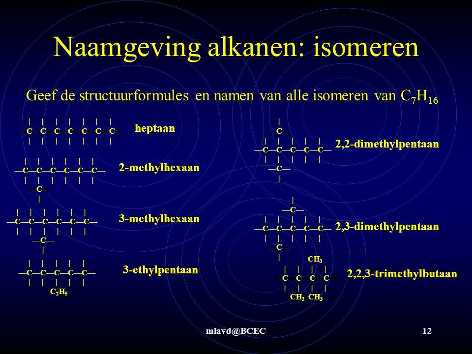 mlavd@BCEC12 Naamgeving alkanen: isomeren Geef de structuurformules en namen van alle isomeren van C 7 H 16               —C—C—C—C—C—C—C—               heptaan             —C—C—C—C—C—C—             —C—     —C—           —C—C—C—C—C—           —C—   2-methylhexaan 3-methylhexaan   —C—           —C—C—C—C—C—           —C—   2,2-dimethylpentaan 2,3-dimethylpentaan             —C—C—C—C—C—C—             —C—             —C—C—C—C—C—           C 2 H 5 3-ethylpentaan CH 3         —C—C—C—C—         CH 3 CH 3 2,2,3-trimethylbutaan