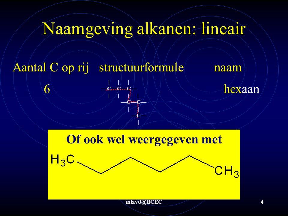 mlavd@BCEC4 Naamgeving alkanen: lineair Aantal C op rijstructuurformulenaam 6hexaan       —C—C—C—         —C—C—     —C—   Of ook wel weergegeven met