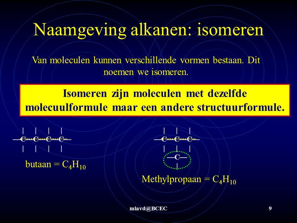 mlavd@BCEC10 Naamgeving alkanen: isomeren Geef de structuurformules en namen van alle isomeren van C 5 H 12 | | | | | —C—C—C—C—C— | | | | | pentaan | | | | —C—C—C—C— | | | | —C— | | —C— | | | —C—C—C— | | | —C— | 2-methylbutaan dimethylpropaan