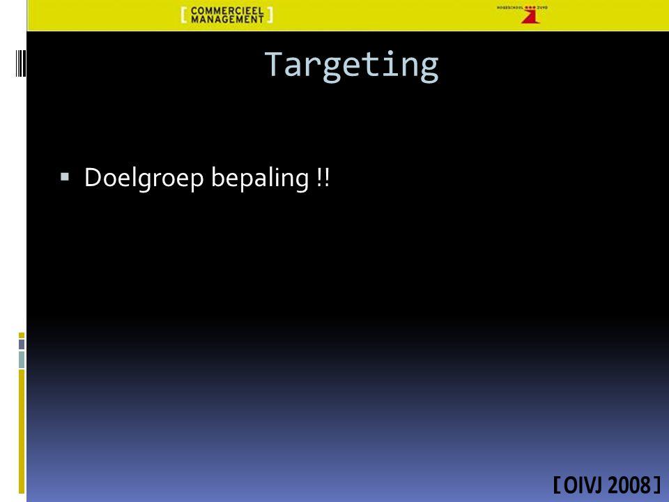  Doelgroep bepaling !! Targeting