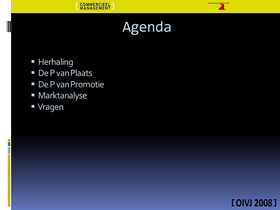 Agenda  Herhaling  De P van Plaats  De P van Promotie  Marktanalyse  Vragen