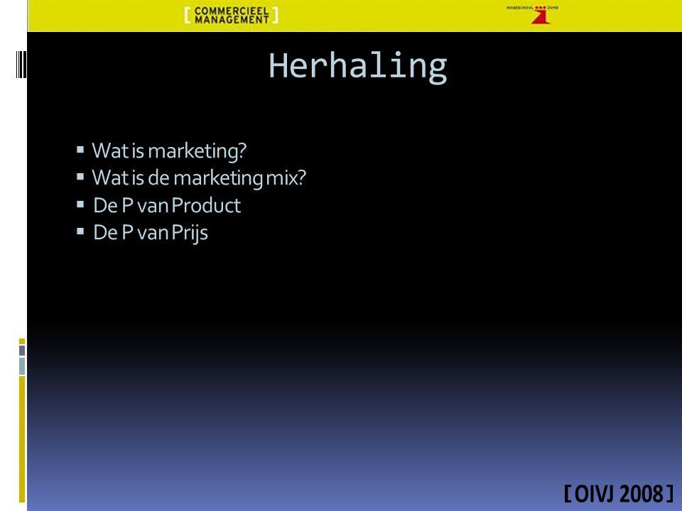 Herhaling  Wat is marketing?  Wat is de marketing mix?  De P van Product  De P van Prijs