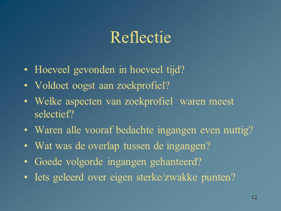 12 Reflectie Hoeveel gevonden in hoeveel tijd? Voldoet oogst aan zoekprofiel? Welke aspecten van zoekprofiel waren meest selectief? Waren alle vooraf