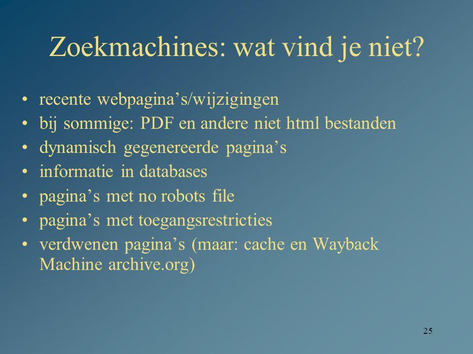 25 Zoekmachines: wat vind je niet? recente webpagina's/wijzigingen bij sommige: PDF en andere niet html bestanden dynamisch gegenereerde pagina's info