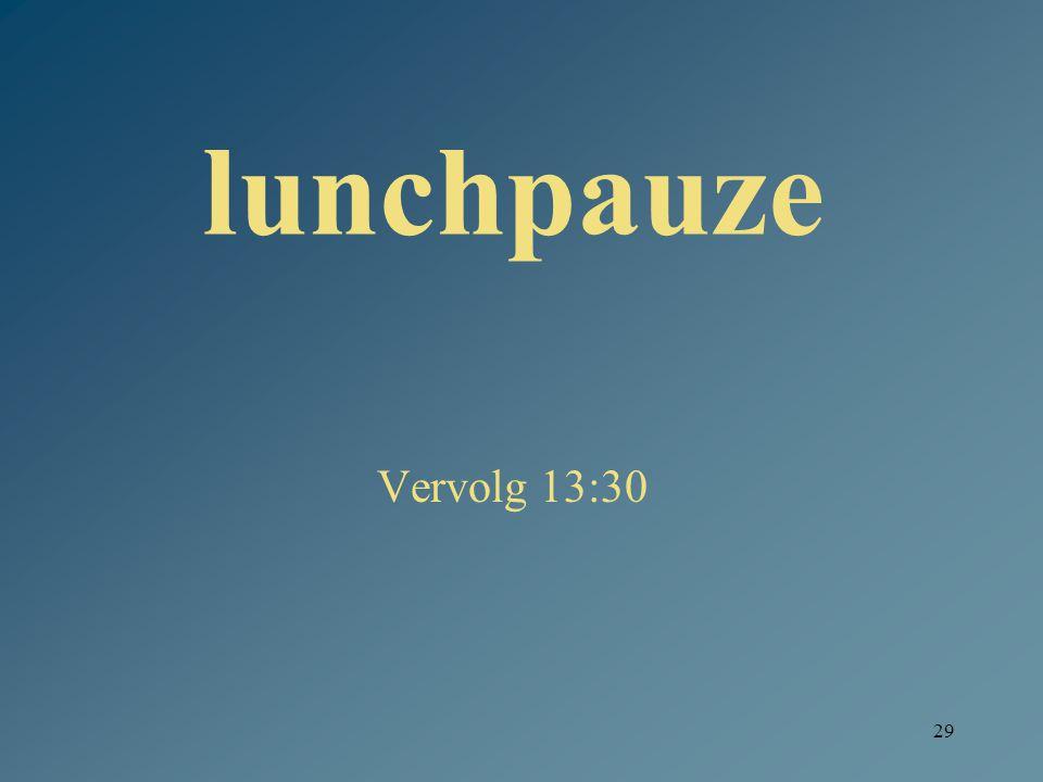29 lunchpauze Vervolg 13:30