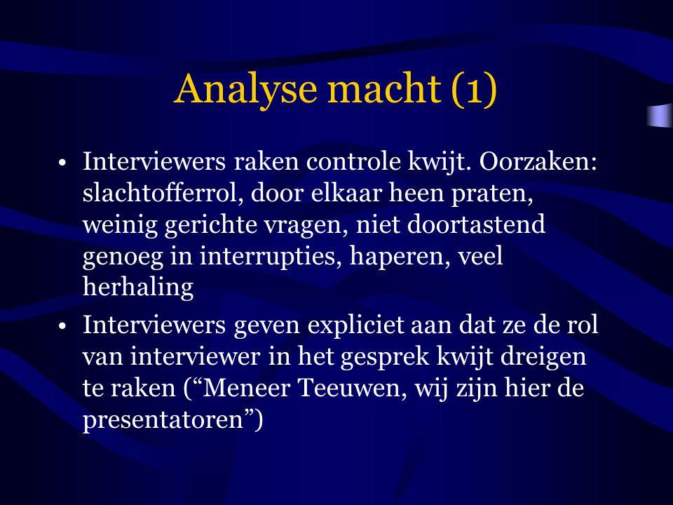 Analyse macht (1) Interviewers raken controle kwijt. Oorzaken: slachtofferrol, door elkaar heen praten, weinig gerichte vragen, niet doortastend genoe