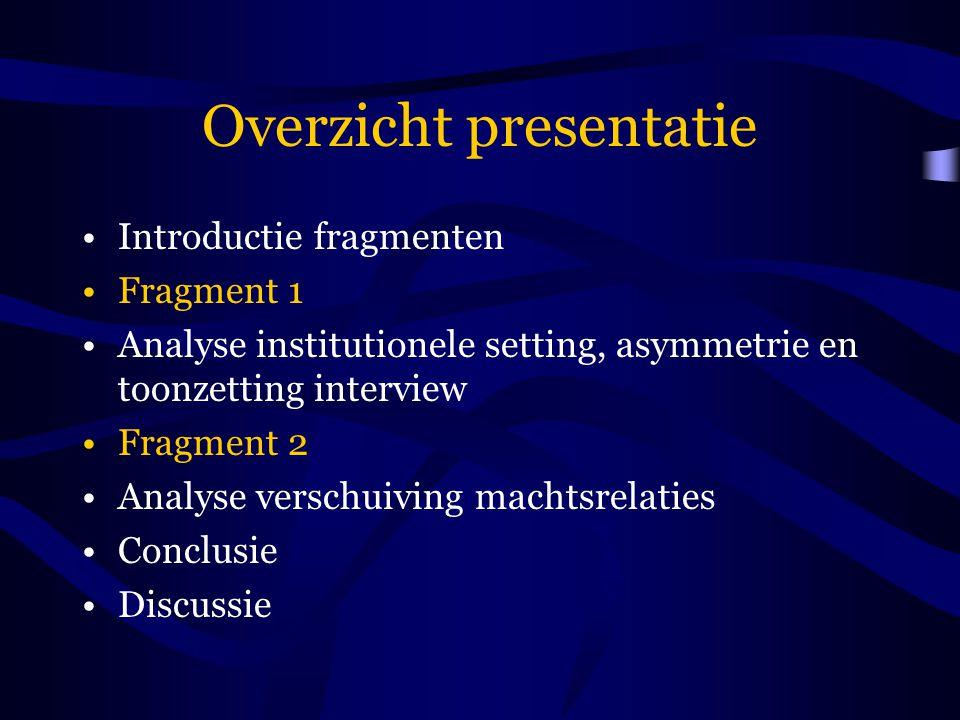 Overzicht presentatie Introductie fragmenten Fragment 1 Analyse institutionele setting, asymmetrie en toonzetting interview Fragment 2 Analyse verschu