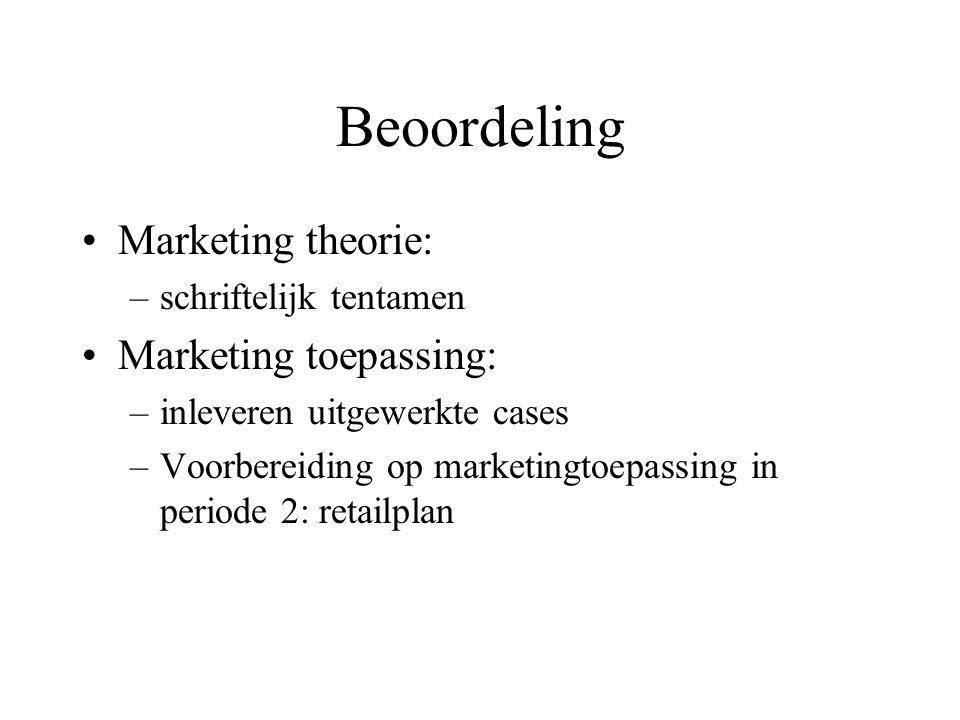 Beoordeling Marketing theorie: –schriftelijk tentamen Marketing toepassing: –inleveren uitgewerkte cases –Voorbereiding op marketingtoepassing in peri