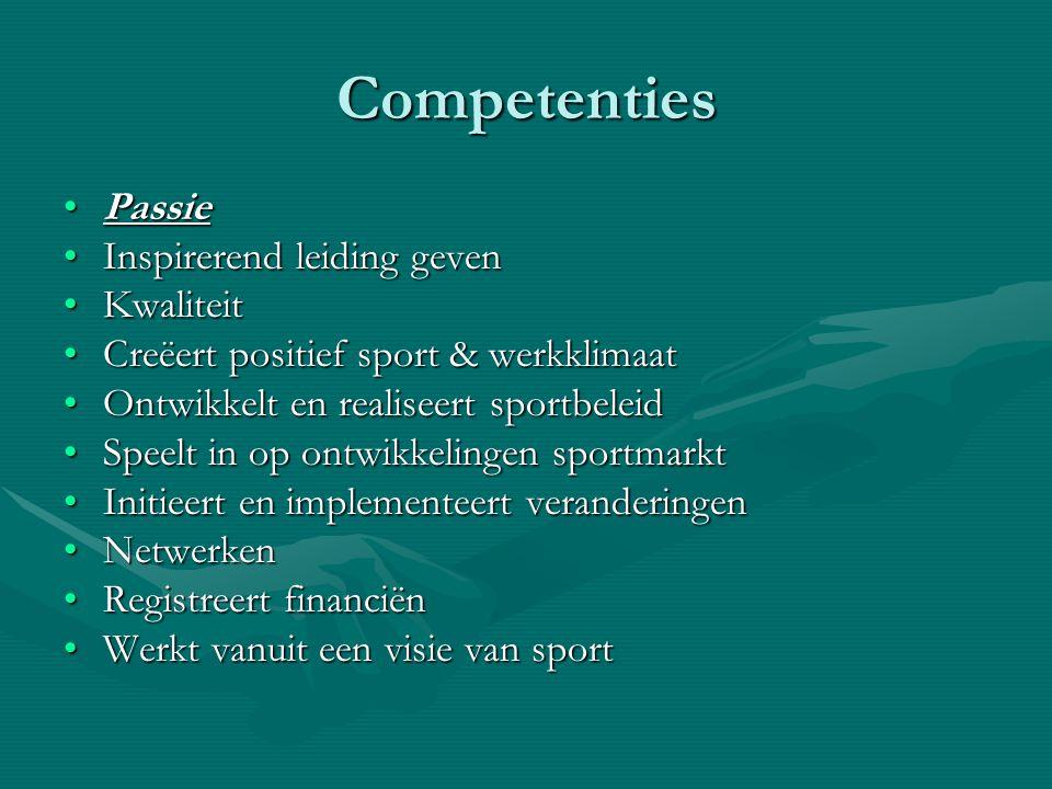 Competenties PassiePassie Inspirerend leiding gevenInspirerend leiding geven KwaliteitKwaliteit Creëert positief sport & werkklimaatCreëert positief s