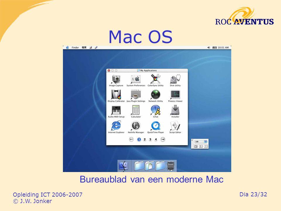 Opleiding ICT 2006-2007 © J.W. Jonker Dia 23/32 Mac OS Bureaublad van een moderne Mac