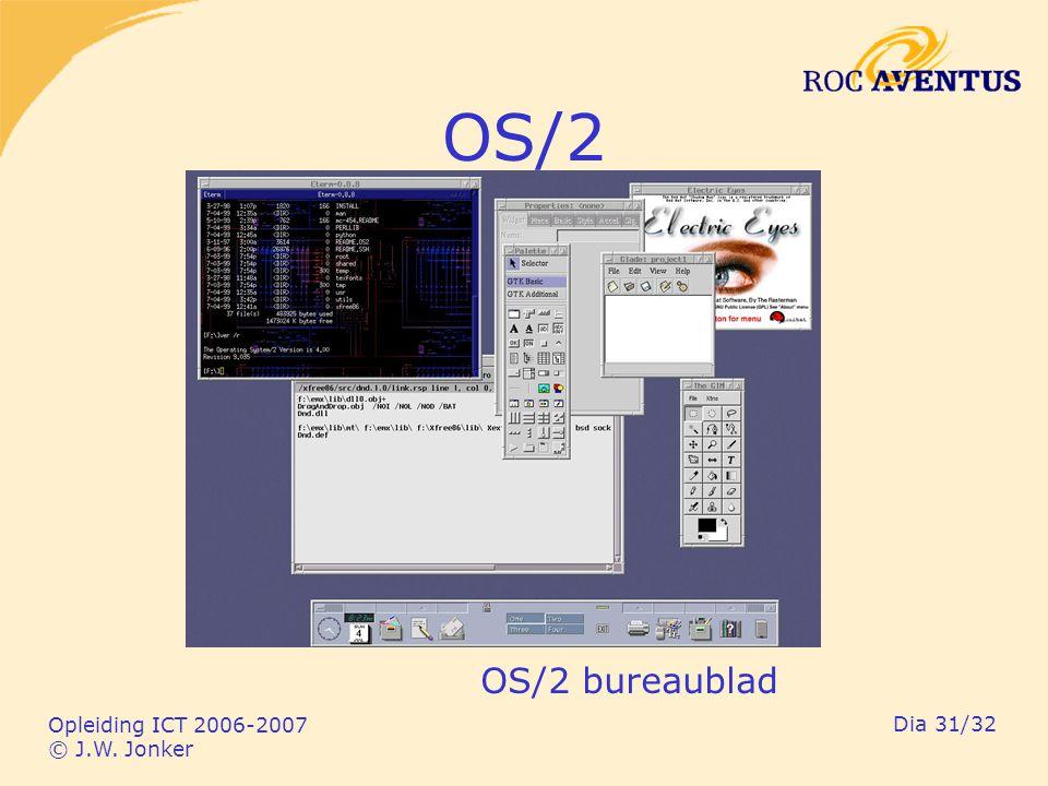 Opleiding ICT 2006-2007 © J.W. Jonker Dia 31/32 OS/2 OS/2 bureaublad