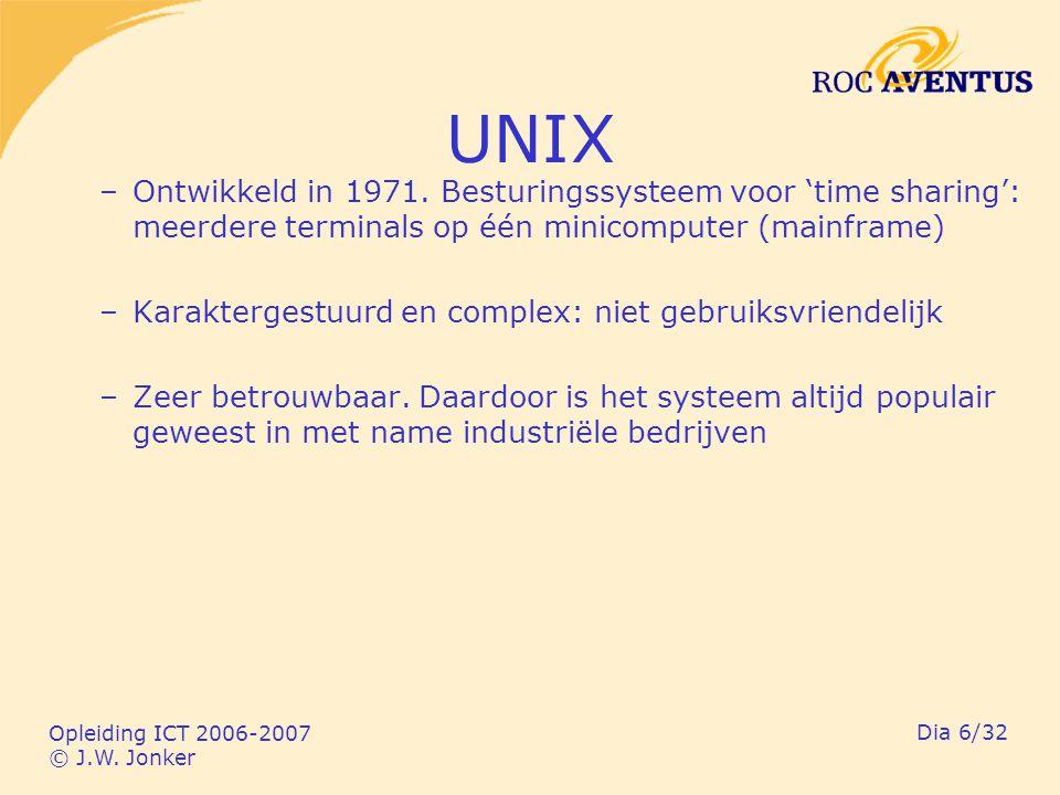 Opleiding ICT 2006-2007 © J.W. Jonker Dia 6/32 UNIX –Ontwikkeld in 1971.