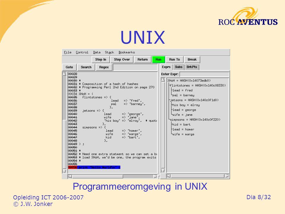 Opleiding ICT 2006-2007 © J.W. Jonker Dia 8/32 UNIX Programmeeromgeving in UNIX