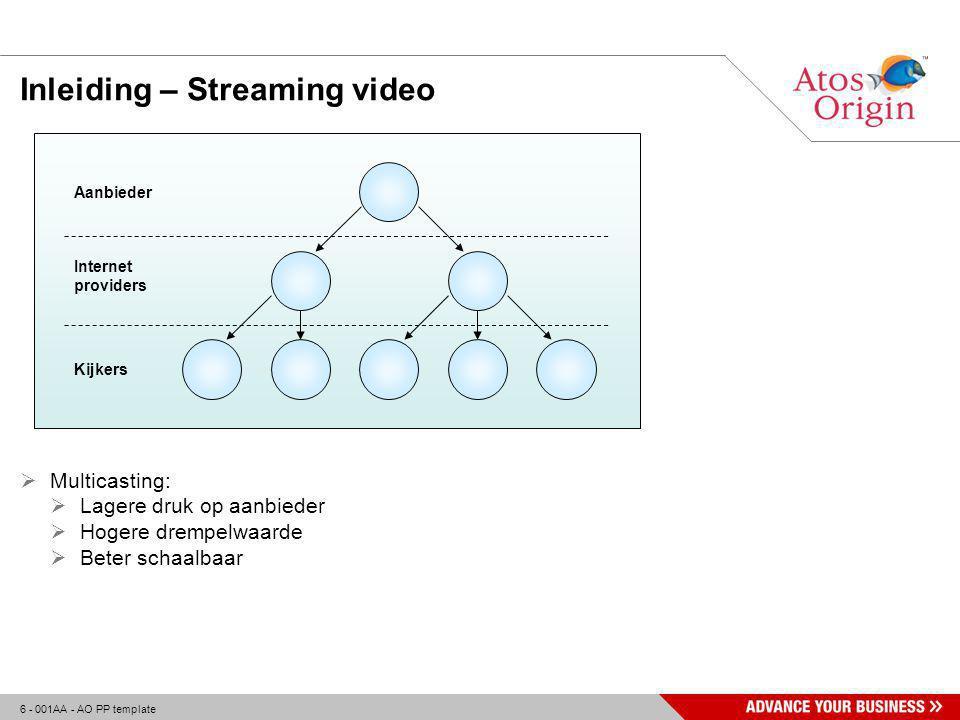 6 - 001AA - AO PP template Inleiding – Streaming video  Multicasting:  Lagere druk op aanbieder  Hogere drempelwaarde  Beter schaalbaar Aanbieder Internet providers Kijkers