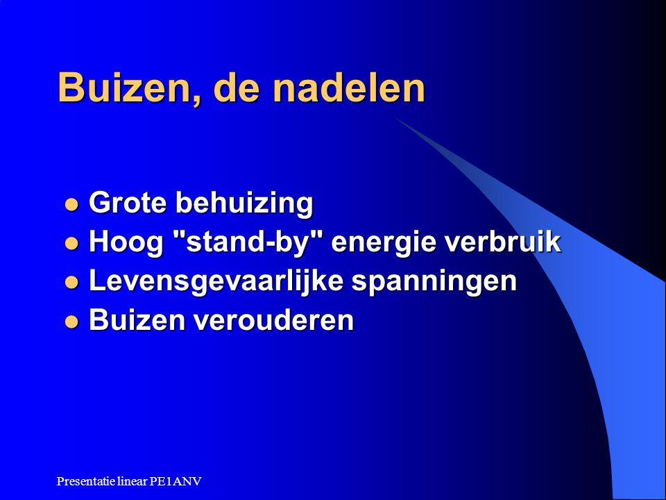 Presentatie linear PE1ANV Buizen, de nadelen Grote behuizing Grote behuizing Hoog