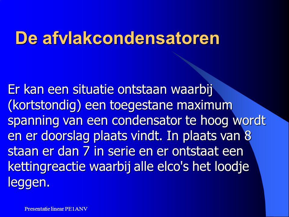 Presentatie linear PE1ANV De afvlakcondensatoren Er kan een situatie ontstaan waarbij (kortstondig) een toegestane maximum spanning van een condensato