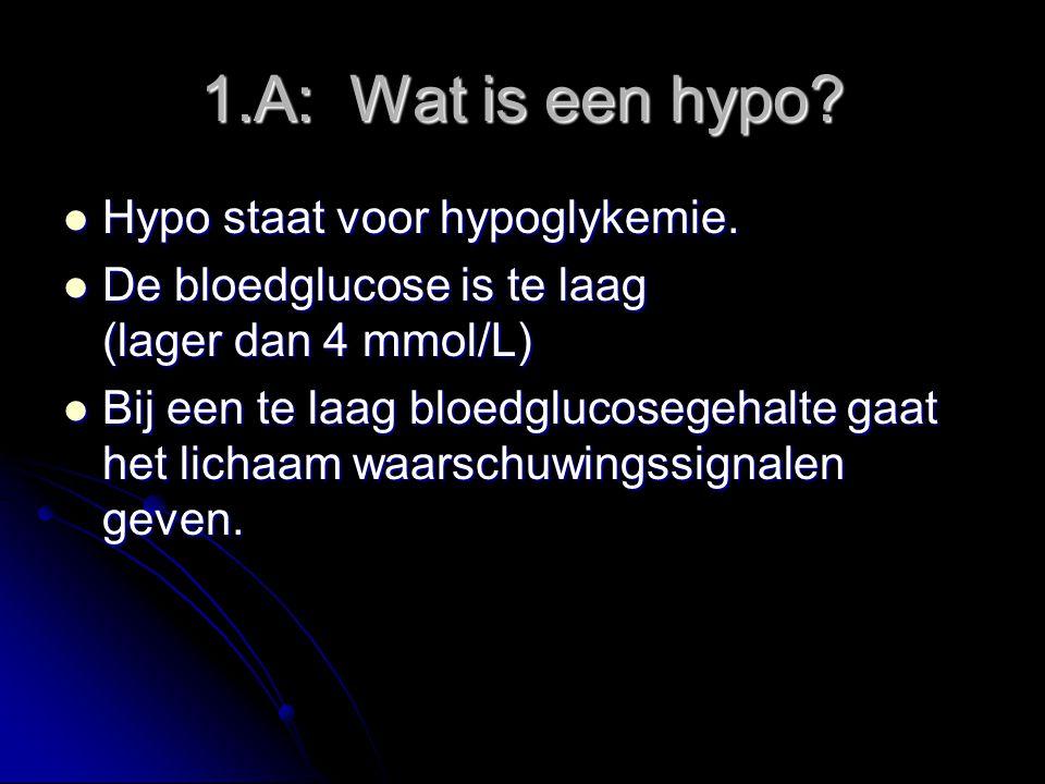 1.A: Wat is een hypo.Hypo staat voor hypoglykemie.