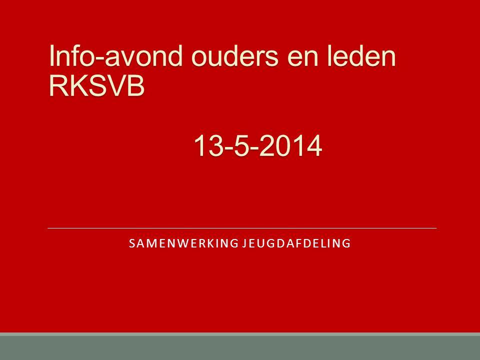 Info-avond ouders en leden RKSVB 13-5-2014 SAMENWERKING JEUGDAFDELING