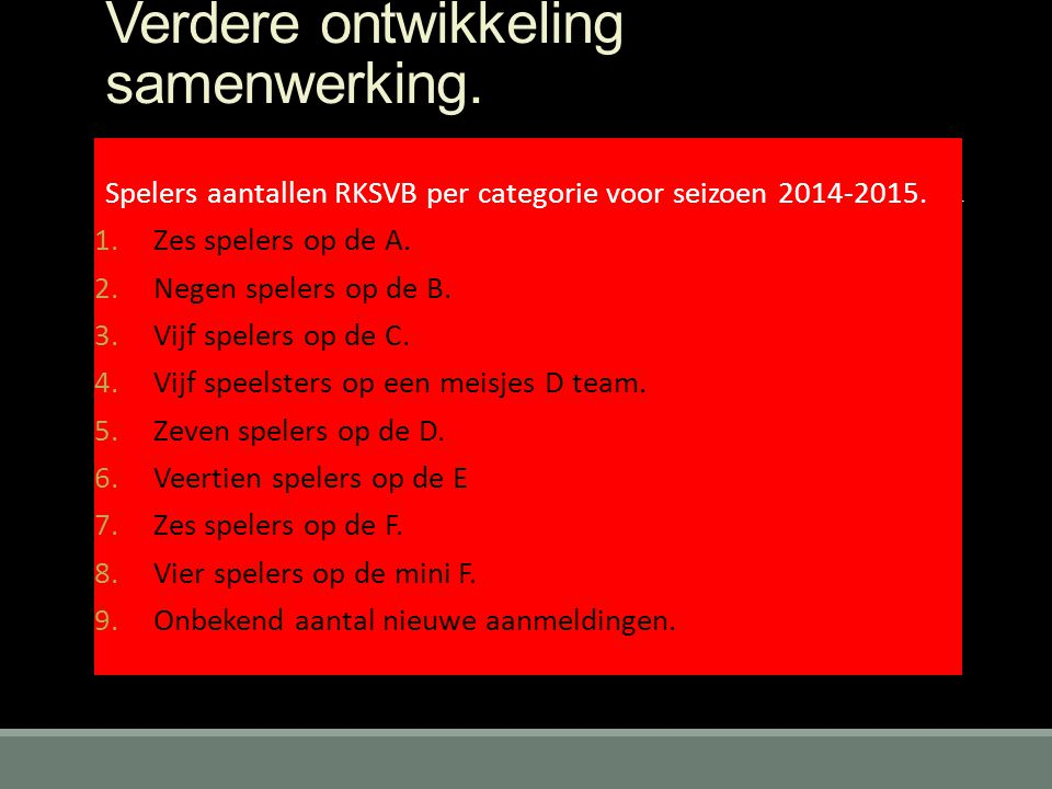 Verdere ontwikkeling samenwerking. Spelers aantallen RKSVB per categorie voor seizoen 2014-2015. 1.Zes spelers op de A. 2.Negen spelers op de B. 3.Vij