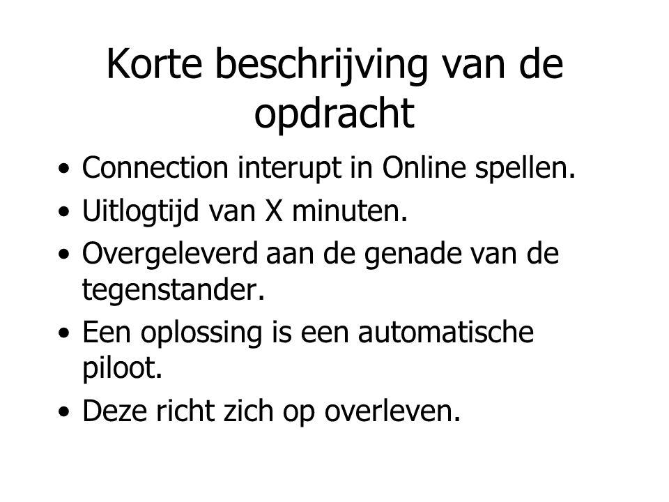 Korte beschrijving van de opdracht Connection interupt in Online spellen. Uitlogtijd van X minuten. Overgeleverd aan de genade van de tegenstander. Ee