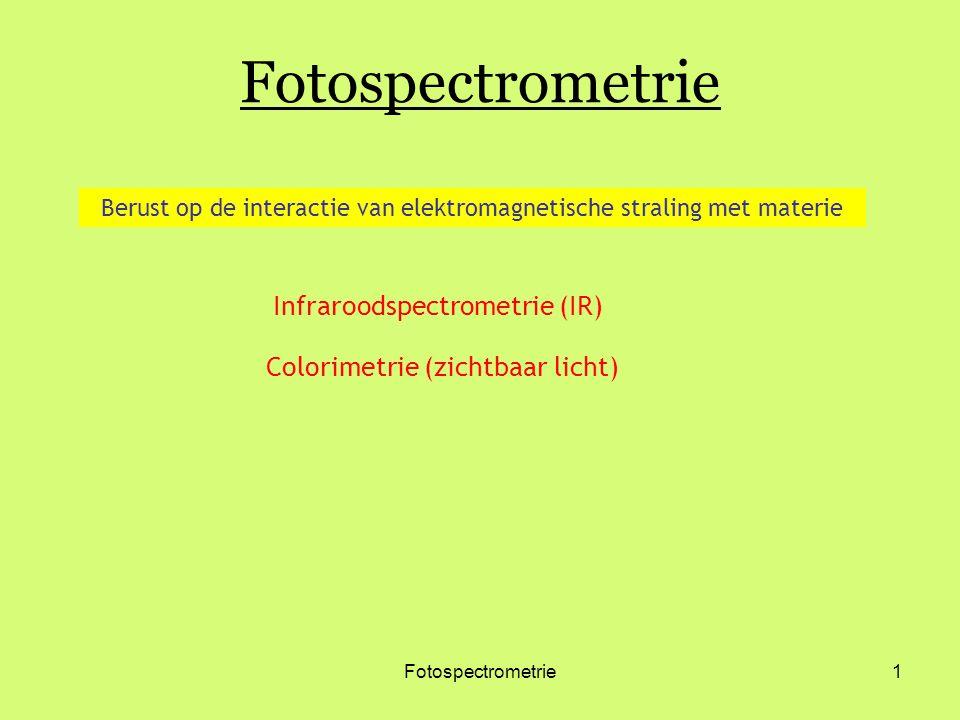 Fotospectrometrie1 Infraroodspectrometrie (IR) Colorimetrie (zichtbaar licht) Berust op de interactie van elektromagnetische straling met materie