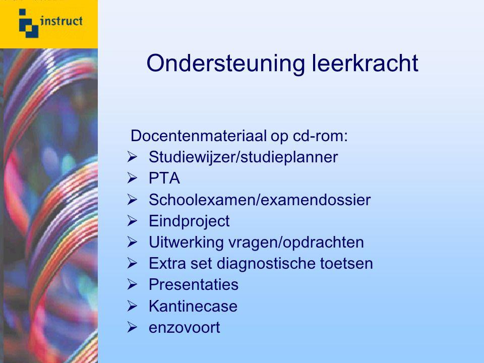 Ondersteuning leerkracht Docentenmateriaal op cd-rom:  Studiewijzer/studieplanner  PTA  Schoolexamen/examendossier  Eindproject  Uitwerking vrage