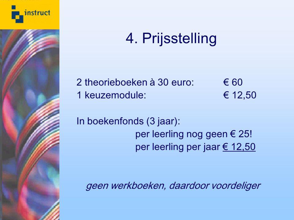 4. Prijsstelling 2 theorieboeken à 30 euro:€ 60 1 keuzemodule:€ 12,50 In boekenfonds (3 jaar): per leerling nog geen € 25! per leerling per jaar € 12,