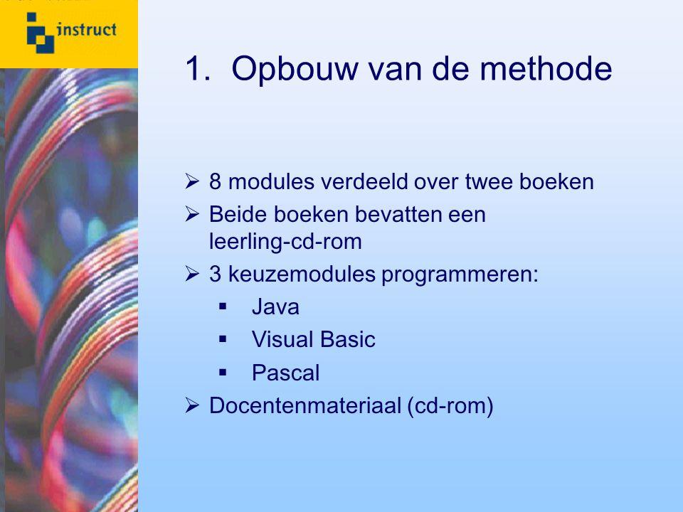 1. Opbouw van de methode  8 modules verdeeld over twee boeken  Beide boeken bevatten een leerling-cd-rom  3 keuzemodules programmeren:  Java  Vis