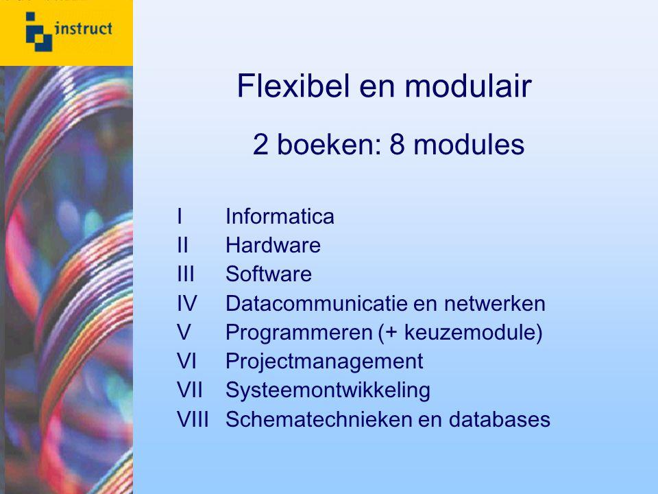 Flexibel en modulair 2 boeken: 8 modules I Informatica II Hardware III Software IV Datacommunicatie en netwerken V Programmeren (+ keuzemodule) VI Pro